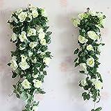 gefälschte Rose Reben Blumen künstliche hängende Rose Efeu Girlande für Hotel Hochzeit Hausparty Garten Handwerk Kunst Wohnkultur, Packung mit 2 (cremig)