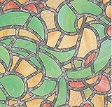 bunte Fensterfolie Reims green yellow - Glasdekorfolie Bleiglas Look selbstklebend adhesive 0,45m x 2,00 m