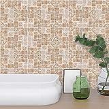 18 stück Fliesenaufkleber 10x10 cm mosaik wandfliesen selbstklebend aufkleber Wasserdicht Rutschfest Fliesen-Aufkleber für Badezimmer Küche Deko, PVC, Retro, diy