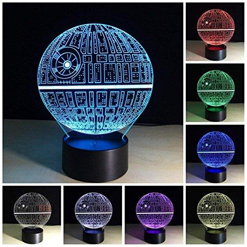 Mangopie Star War Nachtlicht,3D Optical Illusion Star War Lampe mit 7 Farbwechsel & Fernbedienung für Kinder Jungen Geburtstagsgeschenk Home Dekoration (Star War)