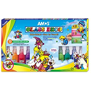 AMOS Peelable Glass Paints and Stain Kit with Outliners 13-Colors