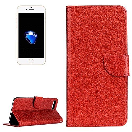Hülle für iPhone 7 plus , Schutzhülle Für iPhone 7 Plus Glitter Powder Leder Tasche mit Halter & Wallet & Card Slots ,hülle für iPhone 7 plus , case for iphone 7 plus ( Color : White ) Red