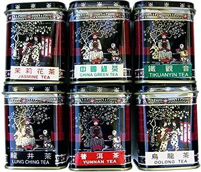6 x 17g chacun de thé chinois authentique. Thé vert chinois - Oolong - Bouddha de fer - Yunnan - Jasmin - thé de Dragon Well