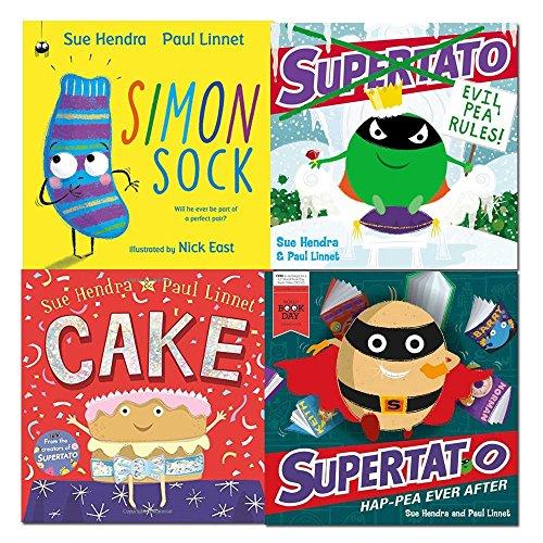 sue hendra collection 4 books set (simon sock, cake, supertato: evil pea rules, supertato hap-pea ever after: a world book day book)