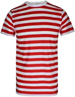 Herren Jungen Streifen rot & weiß gestreift T-Shirt Blau Schwarz Streifen Top & Tees