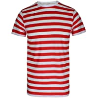 Men's Boys RED & White Striped Stripe T-Shirt Blue Black Stripe TOP & TEES