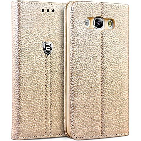 Samsung J5 2016 Hülle, BEZ® Schutzhülle Handyhülle Samsung Galaxy J5 2016 Tasche, Schutzhüllen aus Kunstleder Hülle Klappetui mit Kreditkartenhaltern, Ständer, Magnetverschluss -