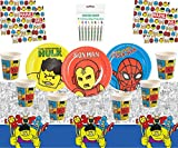 Avengers Pop Comic Party Avengers Party Supplies Enfants Anniversaire Super Héros Décorations Vaisselle pour 16 Invités