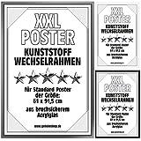 Posterrahmen Wechselrahmen Bilderrahmen Kunststoff Wechsel-Rahmen für Maxi Poster & Plakate 61x91,5cm Silber
