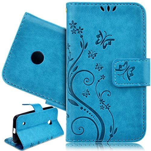 SmartLegend Custodia Caso per Nokia Lumia 530 Alta Qualità PU Portafoglio Shell Protettiva Pelle con Carta di Credito Slot Flip Case Cover Chiusura Magnetica Funzione -Blu Fiore