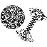 Harilla 2 Piezas Vintage Medieval Vikingo Nórdico Broche Capa Celta Suéter Hebilla Pin