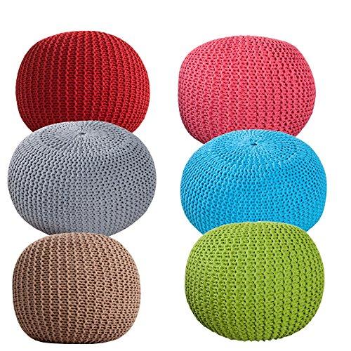 Design Pouf LEEDS aus Strick 50cm Sitzgelegenheit Fußbank Sitzpouf mit Farbwahl