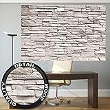 great-art Fototapete Weiße Steinmauer – Wandtapete 210x140 cm 5-teilige White Stonewall Tapete