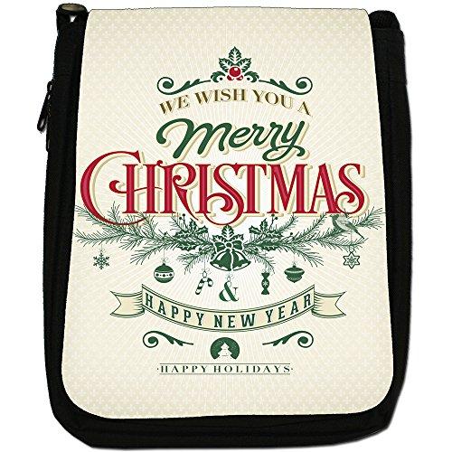 Elegante Vintage auguri di Natale Medium Nero Borsa In Tela, taglia M Wish You Happy Holidays