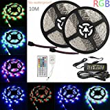 Sunface LED Strip Lights Kit - 32.8ft / 10M(2x5m) Non-waterproof Flexible 5050 RGB 600 LEDs Strip Lighting Full Kit with 44key RGB LED Controller and DC 12V8A Power Adapter Supply for Home,Kitchen ,Gardens,Cars, DIY Party Decoration
