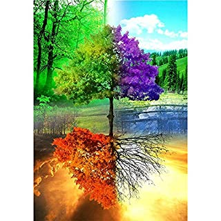 Artistic9 Diamond Painting Kit Full Drill, 5D DIY Rhinestone Embroidery Pasted Painting Without Frame for Home Wall Decoration-Colorful Tree Pattern1 Set