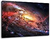 Feuergalaxy im Weltall Format:120x80 cm Bild auf Leinwand bespannt, riesige XXL Bilder komplett und fertig gerahmt mit Keilrahmen, Kunstdruck auf Wand Bild mit Rahmen, günstiger als Gemälde oder Bild, kein Poster oder Plakat