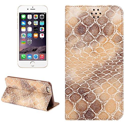 wkae Schutzhülle Case & Cover Stein Textur magnetische horizontale Flip PU Leder Case mit Halter & Cardslot für iPhone 6& 6S Coffee