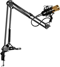 Techtest BM-800 Condenser Microphone (Gold) + Microphone Arm Stand (BLACK), Microphone With Stand, Microphone For Recording