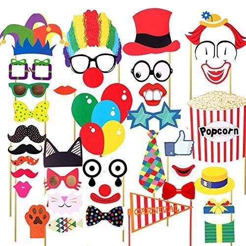 Trimming Shop 36pcs Circo Decoración Fiesta fotomatón Kit Divertido Payaso