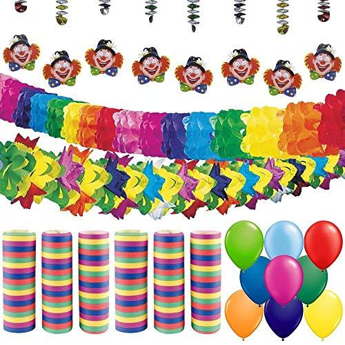 partydiscount24 Partypaket Dekoset Karneval / Fasching 66 Teile - Karnevalsdeko