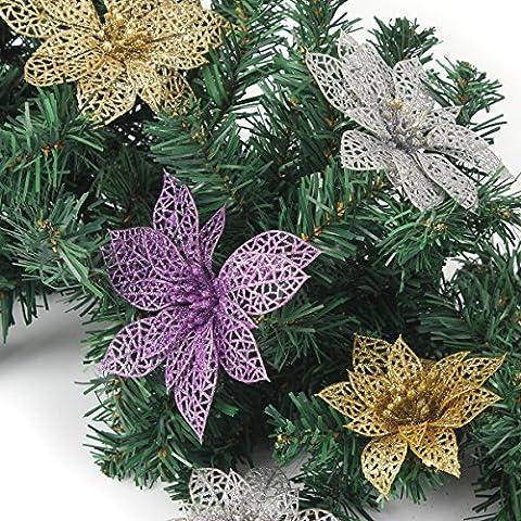 Bazaar Weihnachtsdekoration Blume Glitter Blätter Partei deocration (Glitter Blätter)