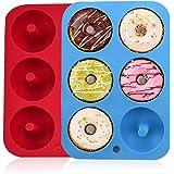 Moldes de silicona para hacer donuts, 6 cavidades antiadherentes, de silicona, bandeja para hornear rosquillas, magdalenas, b