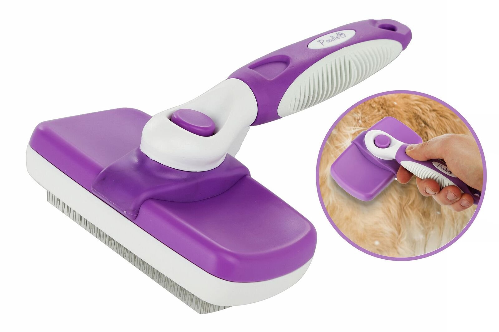 Poodle Pet Self Cleaning Slicker Brush for Dogs, Cats, Rabbits & Horses, 6.5″ x 5″ Retractable, Easy Clean, Ergonomic Stainless Steel Metal Bristle Slicking Comb Professional Grooming Tool