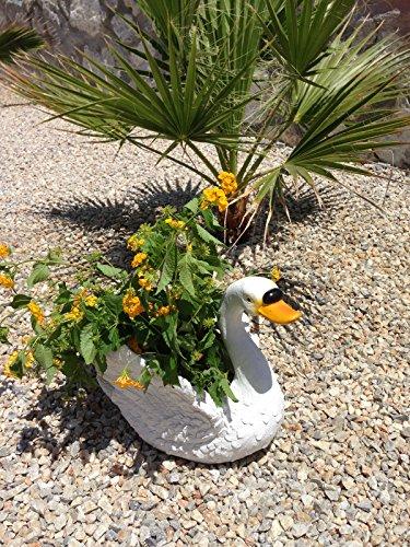 Design Schwan weiß 7150 mit Blumentopf Garten Gartenzwerg Figuren Dekoration Zwerg Schwäne