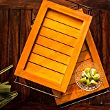 ExclusiveLane Elegant Orange Serving Tray Set - Serving Tray Breakfast Tray Wooden Tray