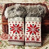 UZI-Metà Pelo Coniglio guanti caldi d'inverno senza dita addensato il simbolo del fiocco di neve di Natale a maglia guanti di lana donne,Beige