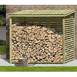 Brennholzregal mit Rückwand von Gartenpirat