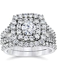 Anillo de 2,32 quilates de doble línea de cristales brillantes de corte diamante engarzados