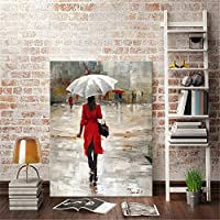 Rjjwai Modern Abstract Portrait Posters and Prints Wall Art Canvas Painting The Umbrella Girl Decorative Pictures for Living Room Home Decor 40x60cm