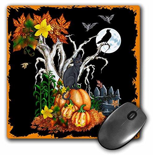 3drose LLC 20,3x 20,3x 0,6cm Halloween Nacht mit eine schwarze Katze, Creepy Baum, Full Moon, Fledermäuse und Jack O Laternen Mauspad (MP 13069_ 1) (Halloween-bäume Schwarze)