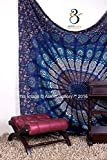 Tapestry Queen Beautiful Hippie Mandala Bohemian Peacock Bedding Indian Bedspread Tapestries 92x82 (235x210 cms) by Aakriti Gallery