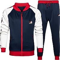 VANVENE - Tuta sportiva da uomo, 2 pezzi, giacca con colletto e pantaloni vintage, taglia S-2XL