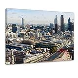Kunstdruck - London Panorama - Bild auf Leinwand - 80x60 cm einteilig - Leinwandbilder - Städte & Kulturen - Wolkenkratzer in der City of London - Blick von der St Paul's Cathedral