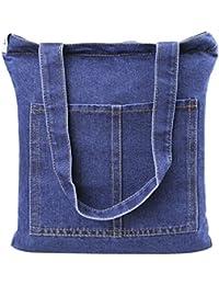 Casual Denim Handbag Shoulder Bag Purse Soft Jeans Shopping Bag Large Capacity Tote Holes Bag With Cell Phone...