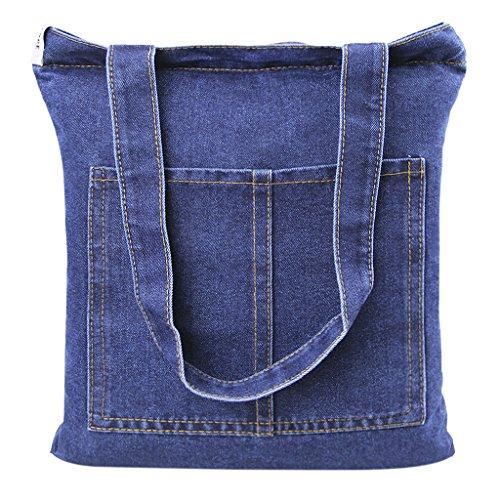 Damen Jeans Canvas Leinwand Umhängetasche Messenger Bag Handtasche Schultertasche Tasche Löcher Muster Hellblau & Dunkelblau (Denim, Canvas, Jeans)