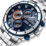 Best Designer Watches - Mens Watches Men Military Waterproof Chronograph Designer Silver Review