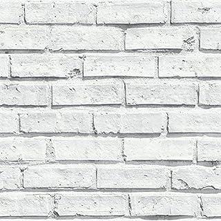 Arthouse White Wallpaper, Brick, 53 cm x 10.05 m