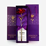 International Gift Red Rose Flower With Golden Leaf With Luxury Gift Box And Beautiful Carry Bag Great Gift Idea for Your Wif