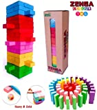 Prime Deals Zenga Wooden Blocks 54 Pcs Challenging Color Wooden Tumbling Tower, Wooden Zenga Toys with Dices Board…