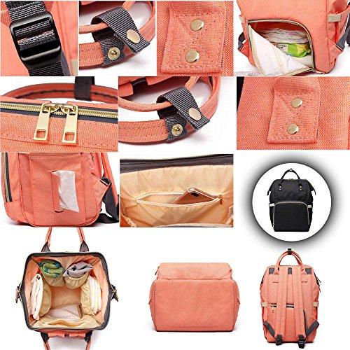 BOZEVON Multifunzione grande capacità borsa a tracolla borse mummia Fashion materna gravidanza Donna - Rosa arancione Nero