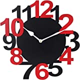 Black Red Wall Clocks for Bedroom   Wall Clock for Living Room   Designer Wooden Bignum Clocks for Home/Wall Decor 10 Inch by