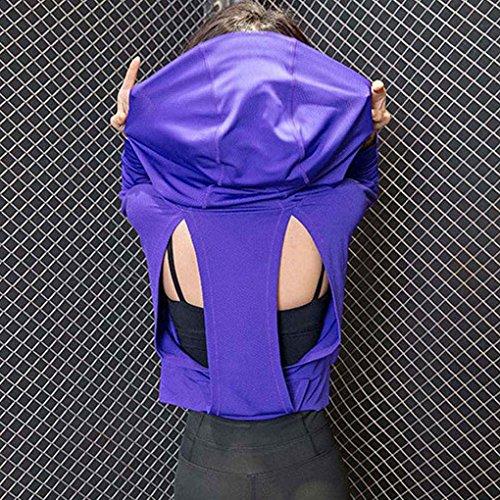Babysbreath T-shirt à capuche à manches courtes pour femmes Quick Dry à manches longues et manches longues ouvert violet