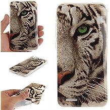 Qiaogle Teléfono Caso - Funda de TPU silicona Carcasa Case Cover para ZTE Blade D6 / V6 / X7 (5.0 Pulgadas) - TX18 / Blanco tiger