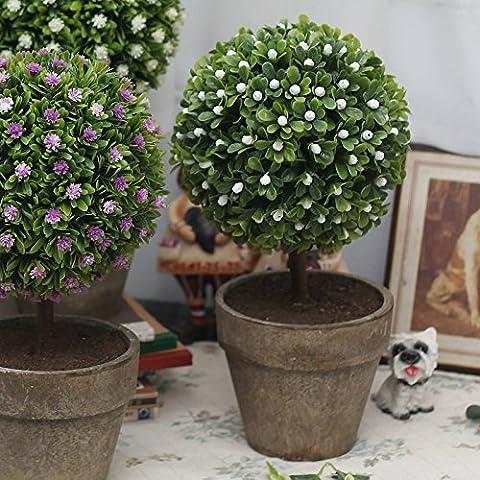 KXZZY Home decorazioni ornamenti floreali di emulazione Green-Sik , verde idilliaco Mini Potted Tsutsu Tree (bianco)