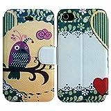 thematys Apple iPhone 44S en cuir synthétique Mauve oiseaux Coque de protection...
